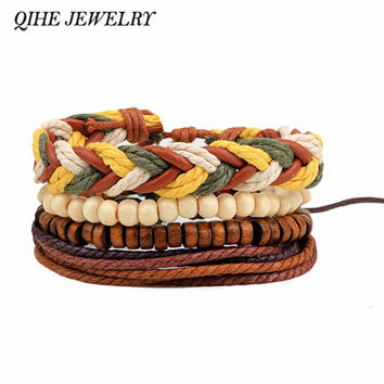 QIHE JEWELRY Brown Surfer Multi Handmade Hemp Braided Tribal Mens Leather Bracelet Unisex Men Women Leather Cuff Bangle Bracelet