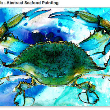 Blue Crab Art Print from Painting Crabs New Orleans Seafood Food Gourmet Beach Ocean CANVAS Ready To Hang Large Artwork FREE Shipping S/H