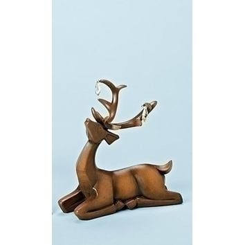 """7.5"""" Faux Wooden Finish Laying Deer Decorative Christmas Table Top Decoration"""