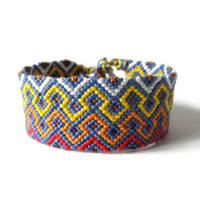 """1 inch wide multicolor macrame friendship bracelet, knotted unisex bracelet for adults """"harlequin on a string"""" 14,5 cm (5,7 inches)"""