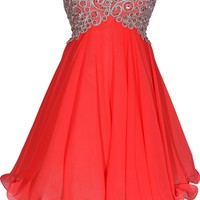 Chiffon Embroidered Babydoll Prom Dress, XL, Coral-Silver
