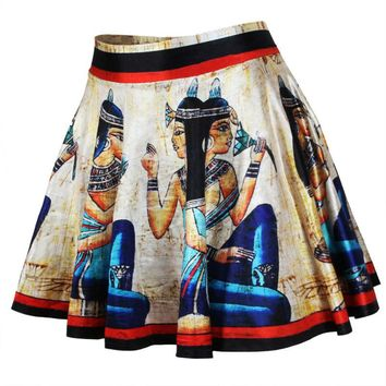 [13307] Digital Print Stretchy Flared Pleated Casual Mini Skirt