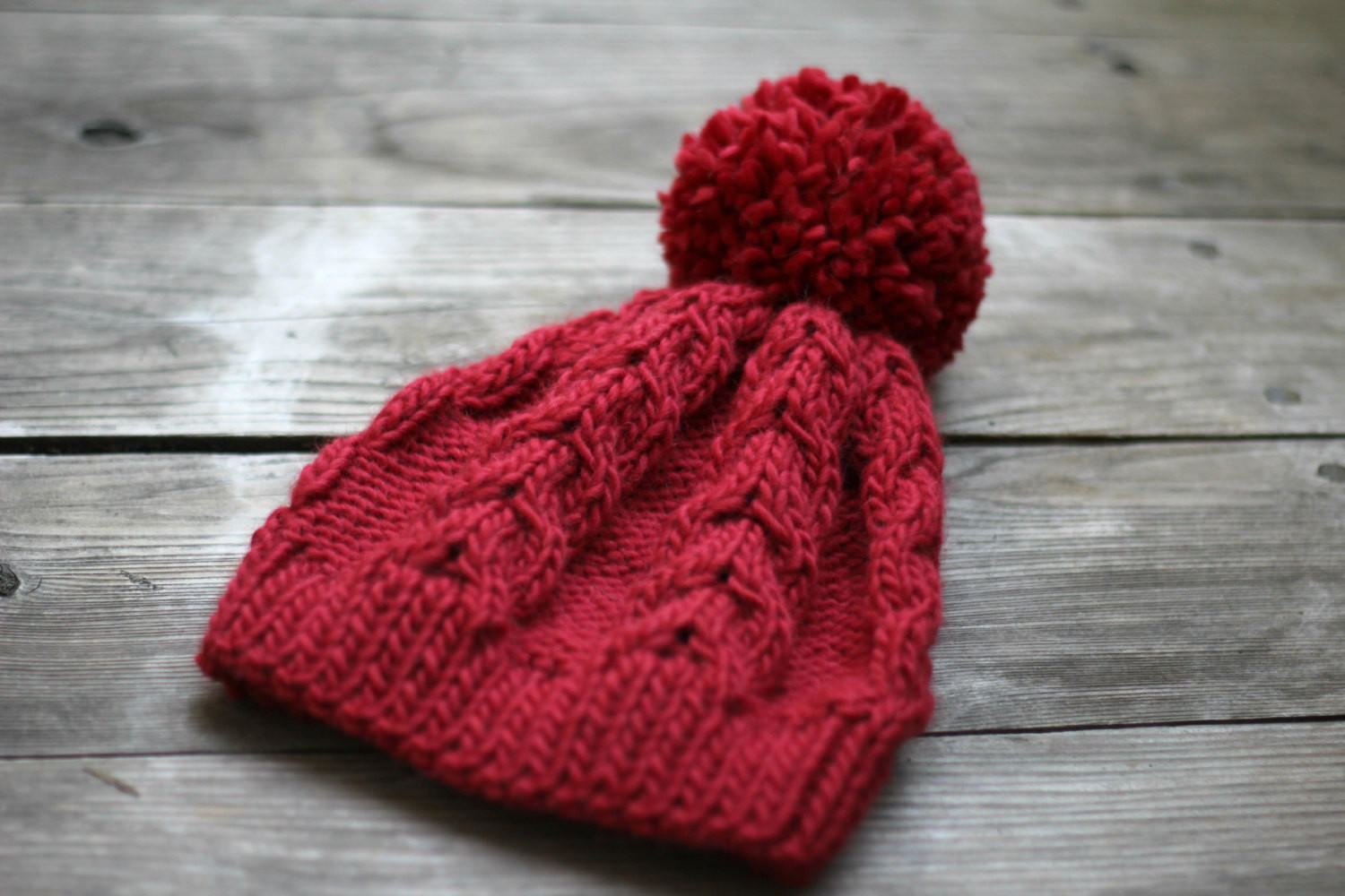 5c6bdd54ea5b74 Knit beanie hat in marsala red with pom pom, winter accessories