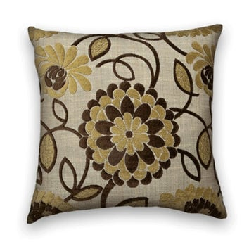 Chenille Decorative Pillow Cover--Dramatic Floral in Yellow and Brown Accent Pillow