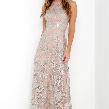 Dress the Population Valentina Silver Sequin Maxi Dress