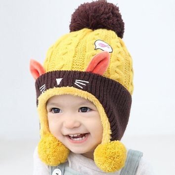 CREYONJ Cute Baby Winter Hat  Warm Infant Beanie Cap For Children Boys Girls Animal Cat Ear Kids Crochet Knitted Hat