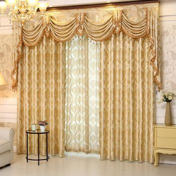 Luxury modern French curtains panels, drapes and valance for living room