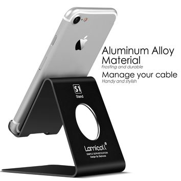 Lamicall VC-S-US-B Cell Phone Stand, S1 Dock : Cradle, Holder, Stand For Switch, all Android Smartphone, iPhone 6 6s 7 8 X Plus 5 5s 5c charging, Accessories Desk - Black