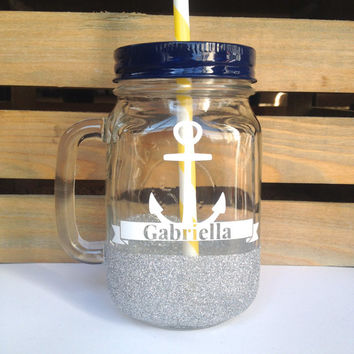 Mason Jar Tumbler - Personalized Silver Glitter Mason Jar Mug, Valentines Gift, Bachelorette Party Glass, Bridesmaids Gift, Sweet 16 Glass