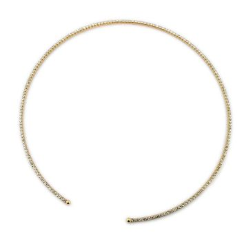 Golden Elastic Collar White Gemstone Necklace Women Simple Necklace Flash Diamond Accessories Temperament Jewelry Business Jewelry IT