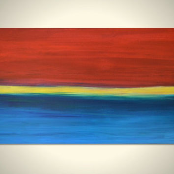 HORIZON 14: Large Original Abstract Seascape Art Canvas Acrylic Painting - Blue Ocean, Yellow Horizon, Red Sunset - Huge Wide Long 36 x 18