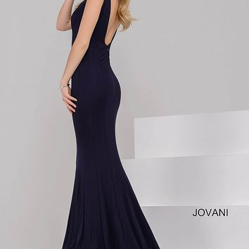 Black Sleeveless Open Back Fit Prom Dress 47409