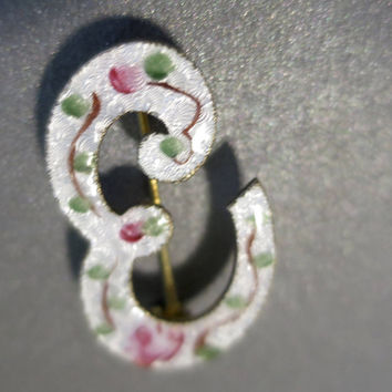Antique E Initial Brooch White Enamel Guilloche w/ Hand Painted Pink Roses Green Leaves Monogram Script Letter E Initial Dainty Brooch