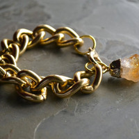 Chunky Gold Chain Bracelet with Citrine Crystal by MarcieRoxx