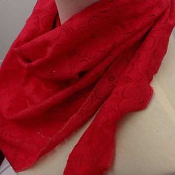 Bright Coral Red stretchy lace scarf, Shimmering Red lace scarf, Fancy red lace cowl bandana, Coral lace scarf, Free Shipping