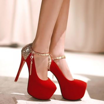 Fashion Bright Solid Color Glisten Wedding Heels Shoes