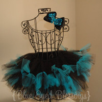 Black & Blue TuTu with Matching Hair Bow 3T4T by BlueEyedBlessings