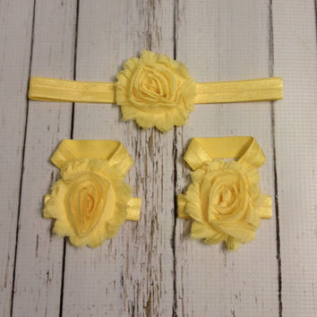 Baby Barefoot Sandal Headband Set...Yellow Barefoot Sandals....Yellow headband