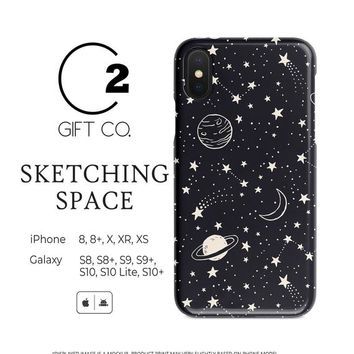 Sketching Space - Heavy Duty Shock Absorption Phone Case Cover For Iphone X, Xr, Xs, 8, 8+ & Samsung Galaxy S10, S10+, S9, S9+, S8, S8+