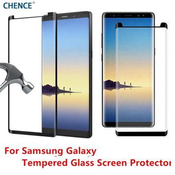 CHENCE Curved Edge Tempered Glass 3D for Samsung Galaxy S8 S8 Plus Note 8 Screen Protector Full Case friendly tempered glass