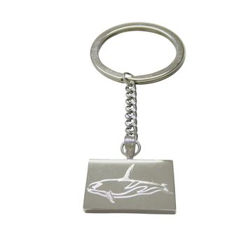 Silver Toned Etched Killer Whale Orca Keychain