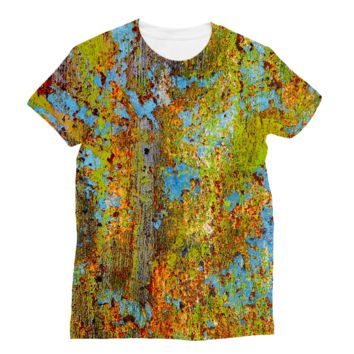 Blue and Lime Green Chipping Paint Subli Sublimation T-Shirt