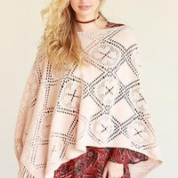 Patterned Knit Fringe Boho Poncho Scarf