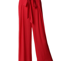 LE3NO Womens Lightweight Ankle Length Palazzo Pants with Belt (CLEARANCE)