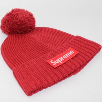 Supreme men and women wool knitted hat wool blended wool hat Red