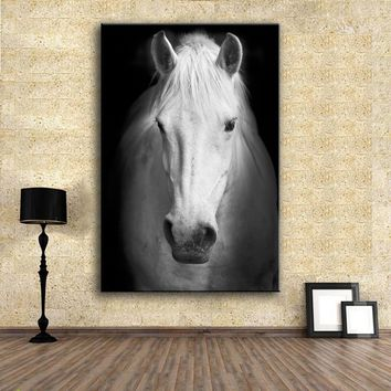 HDARTISAN Wall Art Prints Fine Art Prints Wall painting White horse (2) Animal Picture For Living Room no frame