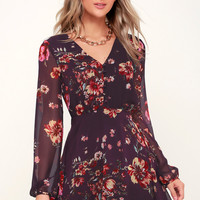 Always Yours Plum Purple Floral Print Long Sleeve Skater Dress