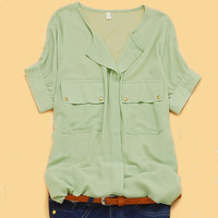Green V-neck Concealed Placket Short Sleeve Chiffon Pockets Shirt - Sheinside.com