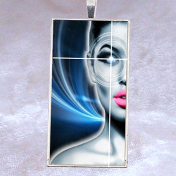 Steampunk Pendant Wearable Art Fantasy, Pink Lips Blue Cyberpunk Pendant, Steampunk Pretty Woman, ResinHeavenusa