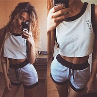 Casual Letter Shirt Top Tee Shorts Set Two-Piece Sportswear