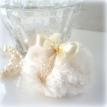La Petite Lace Powder Puff - soft creamy ivory and crochet lace - miniature pouf - gift boxed made by Bonny Bubbles