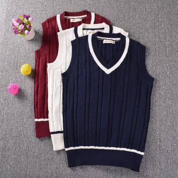 2016 Spring Autumn sweater fashion women british style V-neck sleeveless vest sweaters cute girl casual pullovers knitwear