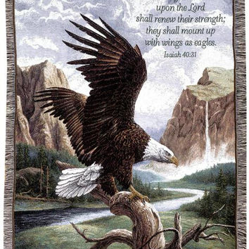 "Isaiah 40:31 Eagle Afghan -  "" But They That Wait Upon The Lord Shall Renew Their Strength; They Shall Mount Up With Wings As Eagles. """