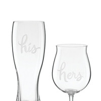 Kate Spade Two Of A Kind His And Hers Beer Glasses Clear ONE