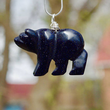 Blue Sandstone Polar Bear Necklace ~ Sparkly Stone Bear Pendant  ~  Midnight Blue  ~ Stone of Wealth  ~ Graduation Gift ~ Teacher Present