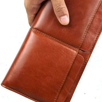 Leather men clutch coffee modern brown zip clutch men long wallet purse clutch