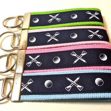 Wristlet Key Fob - Navy and White Golf on Choice of Webbing