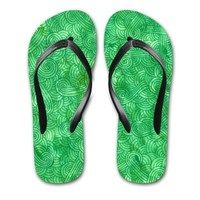 'Bright green swirls doodles' Flip Flops by Savousepate on miPic