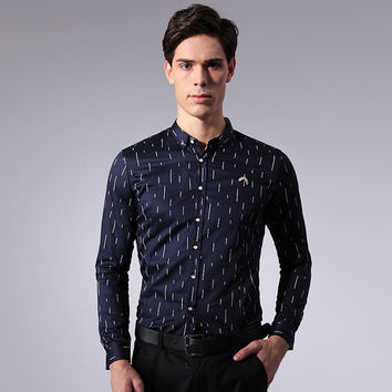 Summer Men Stylish Korean Slim Print Long Sleeve Men's Fashion Shirt Blouse [6543943235]