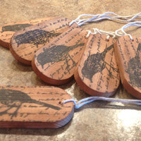 "Rustic Wood  ""Script with black bird"" Gift Tag, Favour, Wishing Tag, memory keepsake"