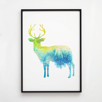 Deer decor Stag art Animal watercolor EM044