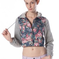 Floral Crop Top Denim Hoodie - Blue at Lucky 21 Lucky 21