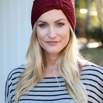 Crochet Headband - Burgundy