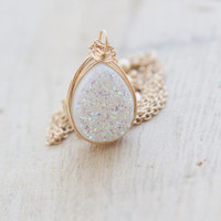 Druzy Teardrop Necklace, Opal White Bezel Wrapped Quartz Gemstone, Gold, Rose Gold, Sterling Silver, Fall Fashion