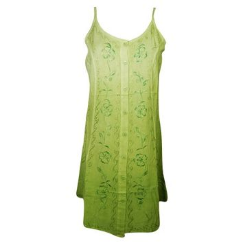 Mogul Womens Shift Dress Green Floral Embroidered Sleeveless Button Front Tank Boho Chic Summer Sundress - Walmart.com