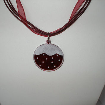 Christmas necklace Deep red   shiny mirrored acrylic with white snow ornament  pendant